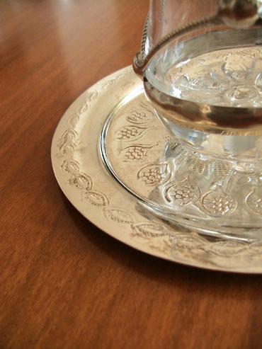 モロッコ シルバー グラス トレイ